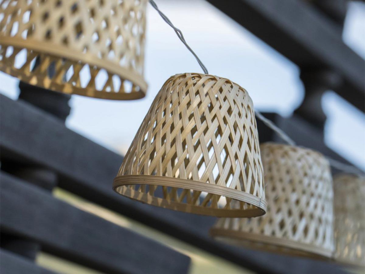 Guirlande lumineuse solaire rotin naturel 10 abat-jour LED blanc chaud CHILL