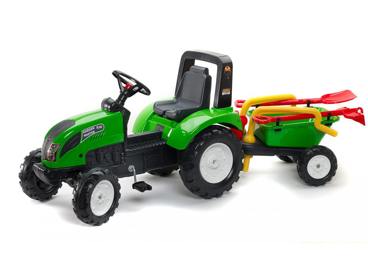 Tracteur enfant Garden Master vert + remorque 2 en 1