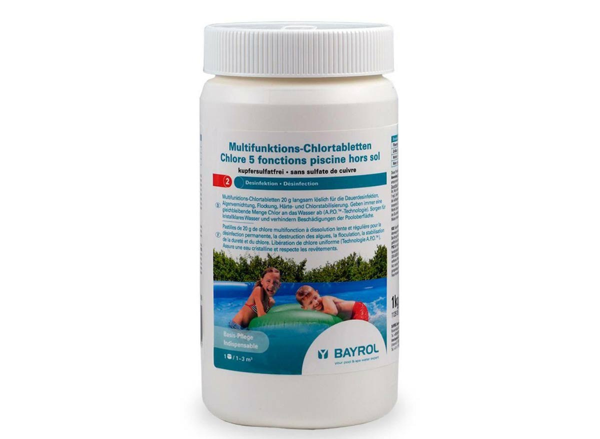 Chlore 5 actions pour piscine hors-sol 1 kg