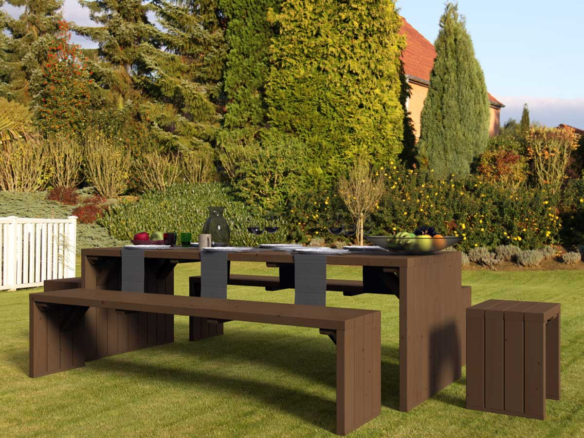 Salon de jardin en bois teinté marron 8 places Linéa Déco