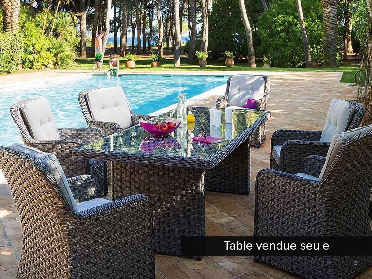 Table de jardin rectangulaire en résine tressée Nagao 8 places