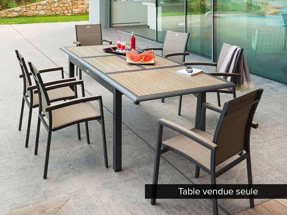 Table extensible rectangulaire Azua Composite 6/10 places Taupe