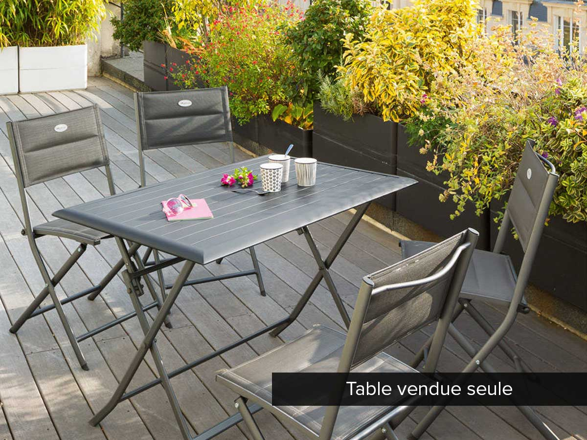 Table de jardin rectangulaire Azua 4 places Ardoise