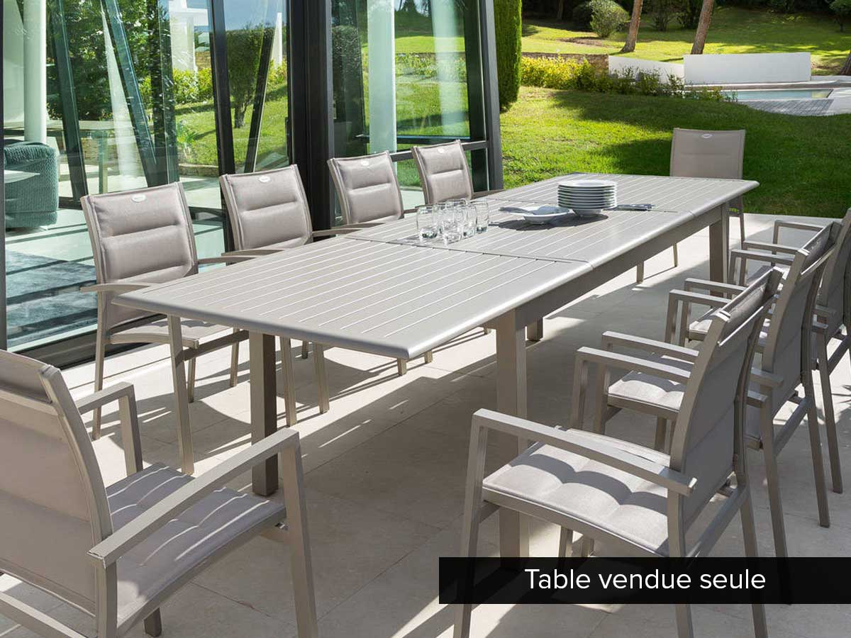 Table extensible rectangulaire Azua Alu 8/12 places Taupe