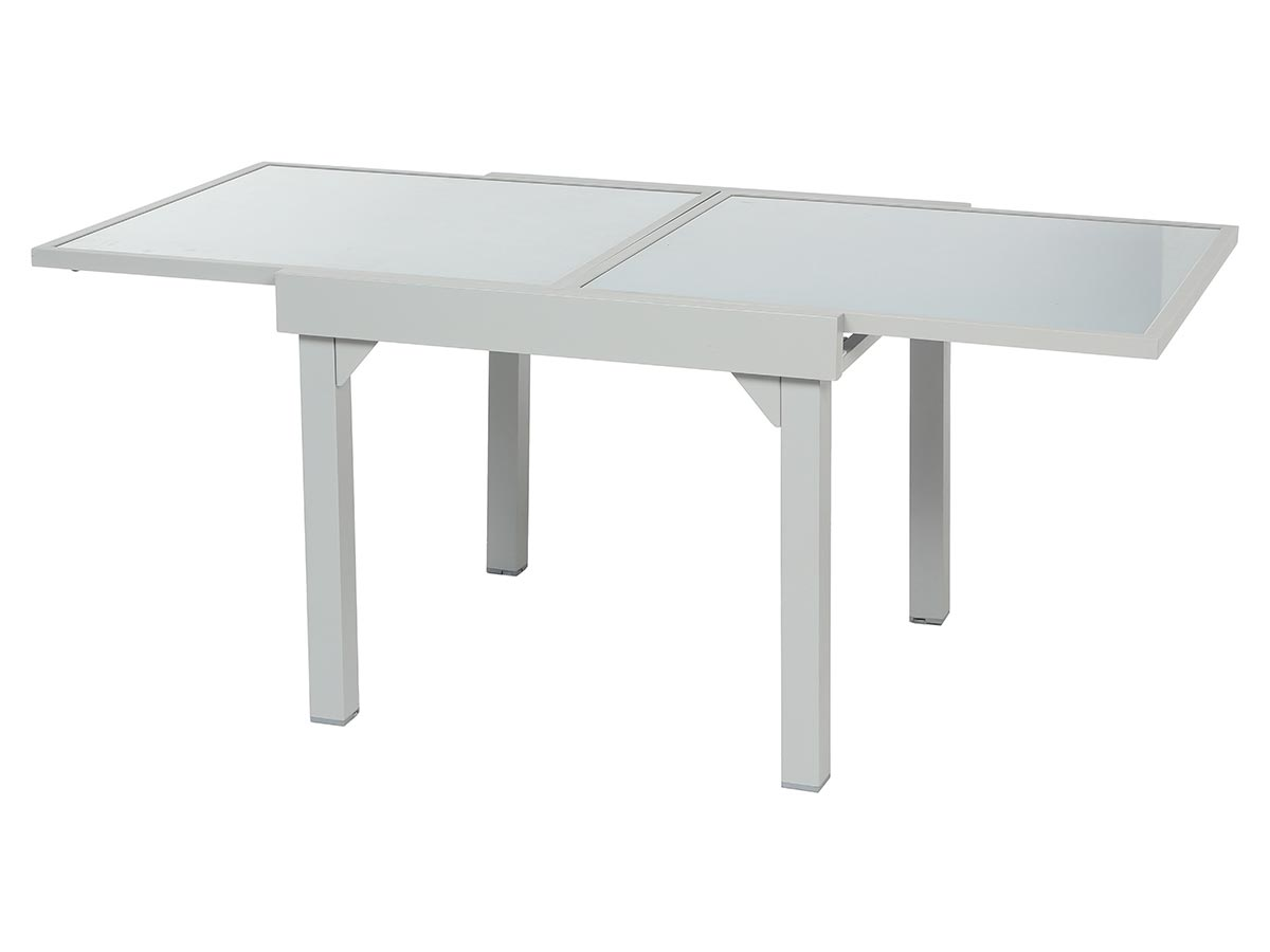 Table extensible carrée en verre Piazza 4/8 places Gris mat
