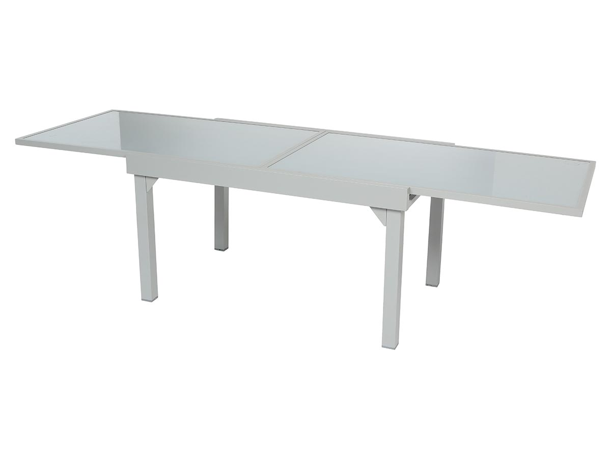 Table extensible rectangulaire en verre Piazza 6/10 places Gris mat - Hespéride