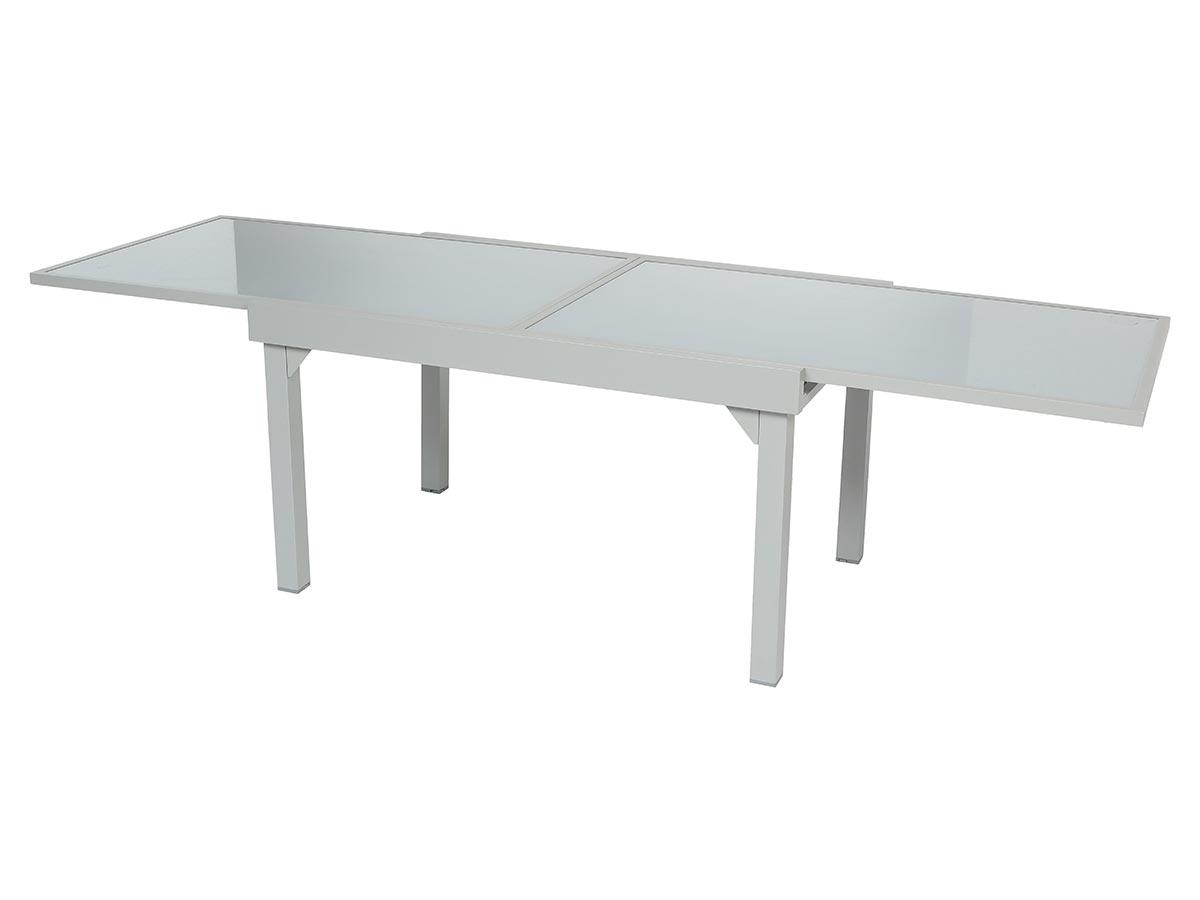 Table extensible rectangulaire en verre Piazza 6/10 places Gris mat - Hespéride