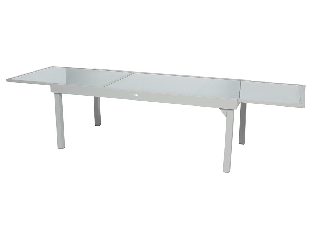 Table extensible rectangulaire Piazza 8/12 places Gris mat - Hespéride