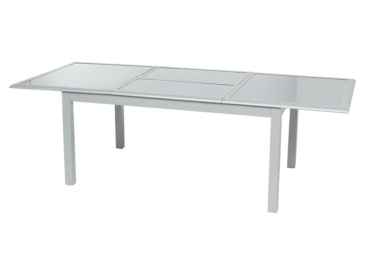 Table extensible rectangulaire Azua verre 6/10 places Gris mat - Hespéride