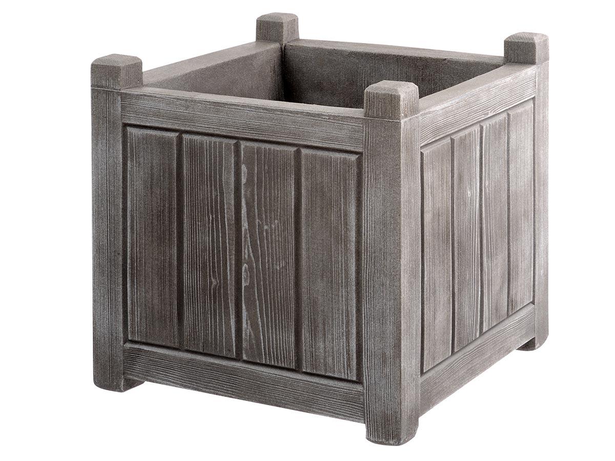 Jardinière carrée effet bois - 40 x 40 x 40 cm