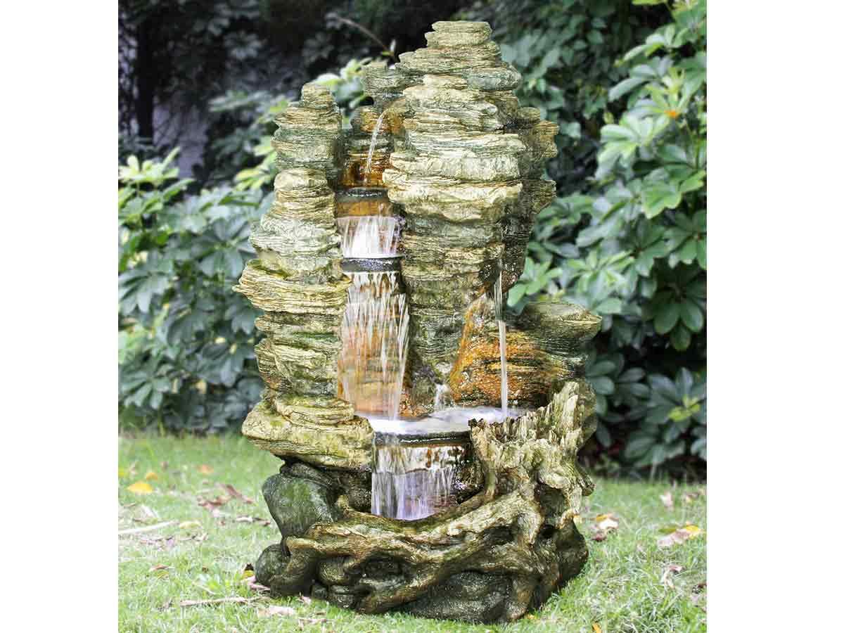 Fontaine de jardin Miami rochers avec cascade et éclairage LED - Ubbink