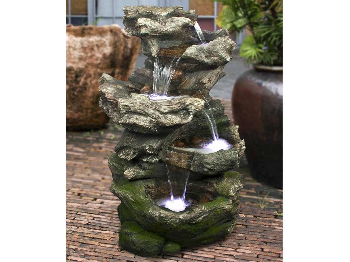 Fontaine de jardin Norfolk rochers avec cascade et éclairage LED - Ubbink