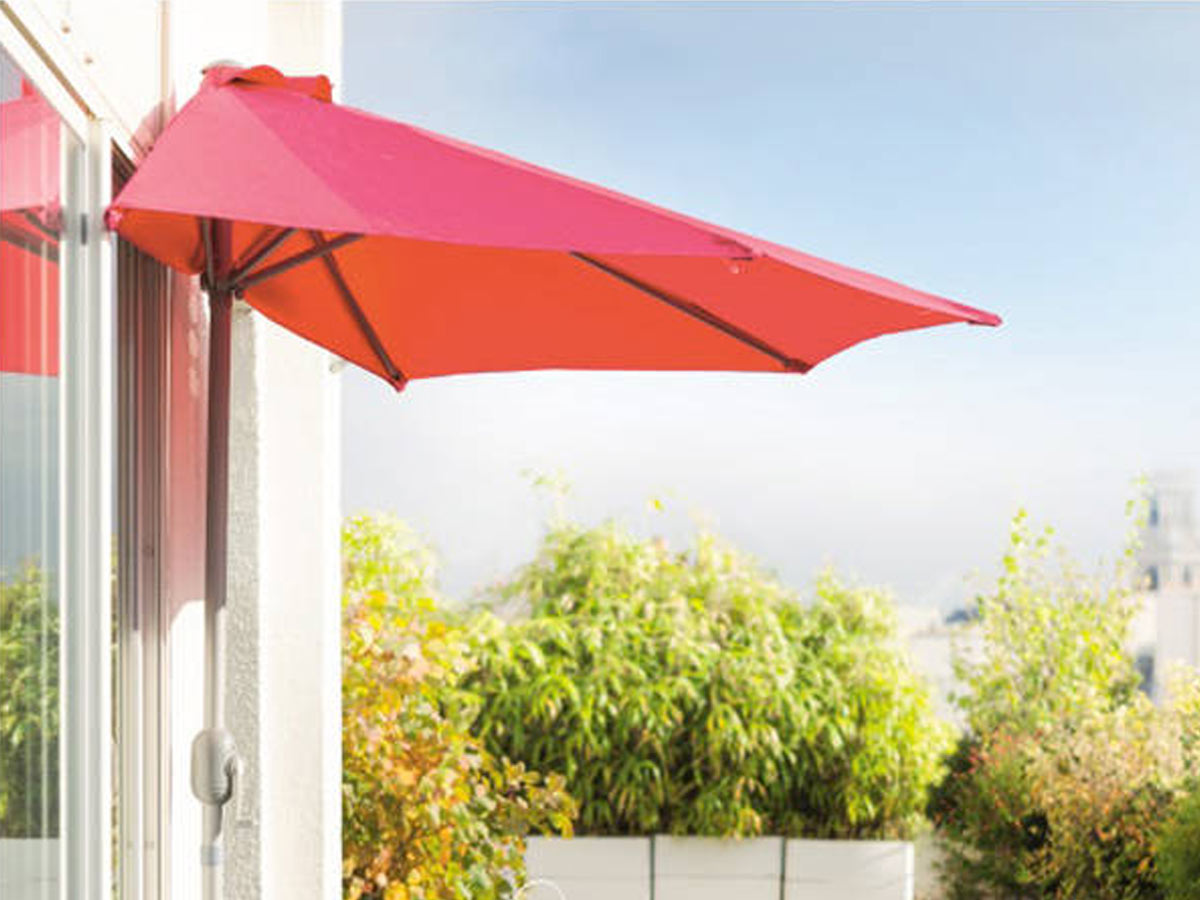 Demi parasol de balcon Serena Framboise