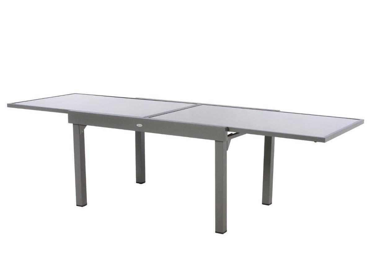 Table extensible rectangulaire en verre Piazza 6/10 places Taupe