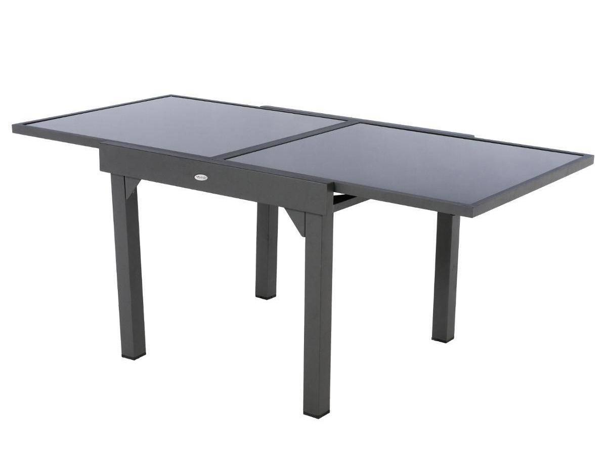 Table extensible carrée en verre Piazza 4/8 places Gris anthracite