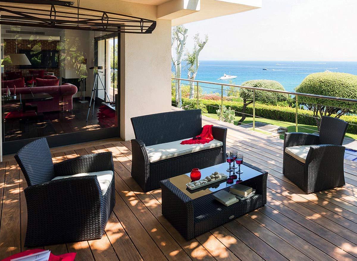Salon de jardin résine tressée Bora Bora noir