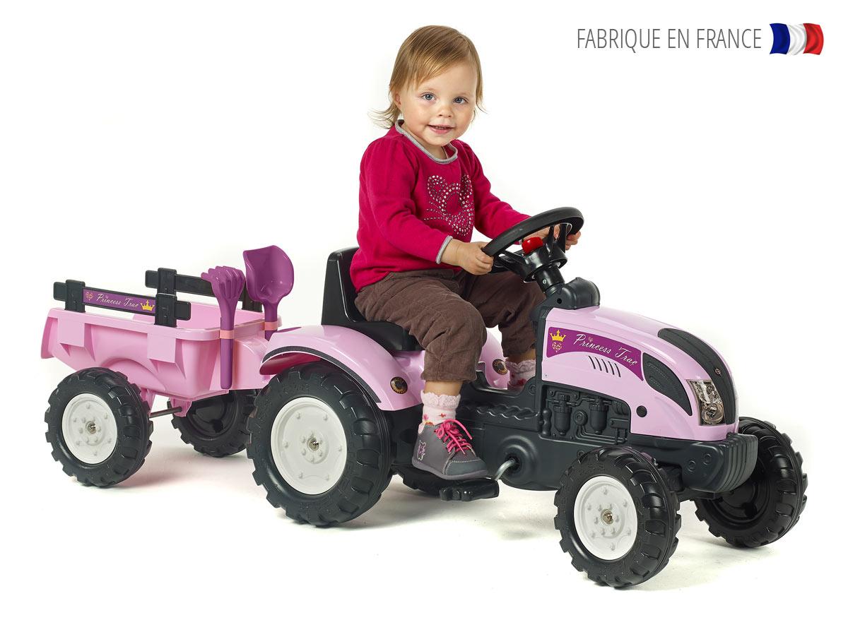 Tracteur enfant Princess Trac + remorque + accessoires