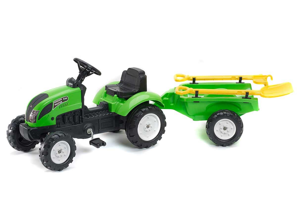 Tracteur enfant Garden Master vert + remorque + accessoires