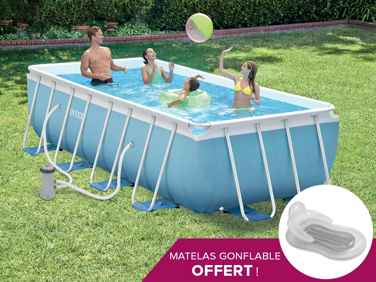 Piscine tubulaire rectangulaire intex 400 x 200 x 100 m bleu