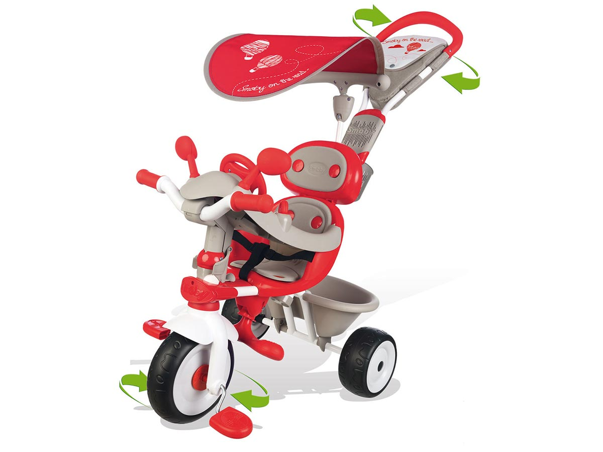 Tricycle enfant Baby Driver Confort Rouge + Ombrelle Smoby