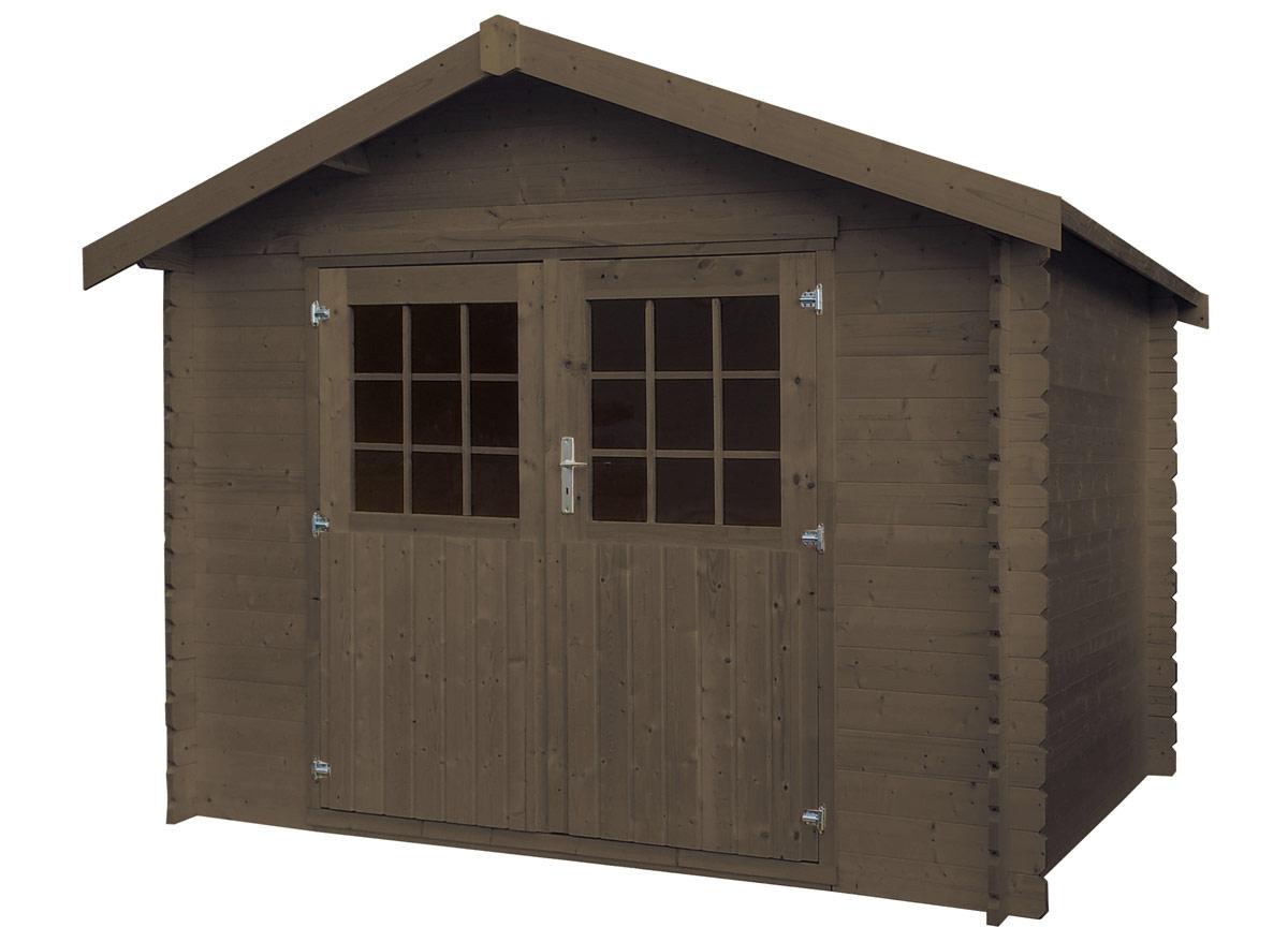 Maison de jardin bois Flore 28 mm - Teinté Marron - 6,68 m²