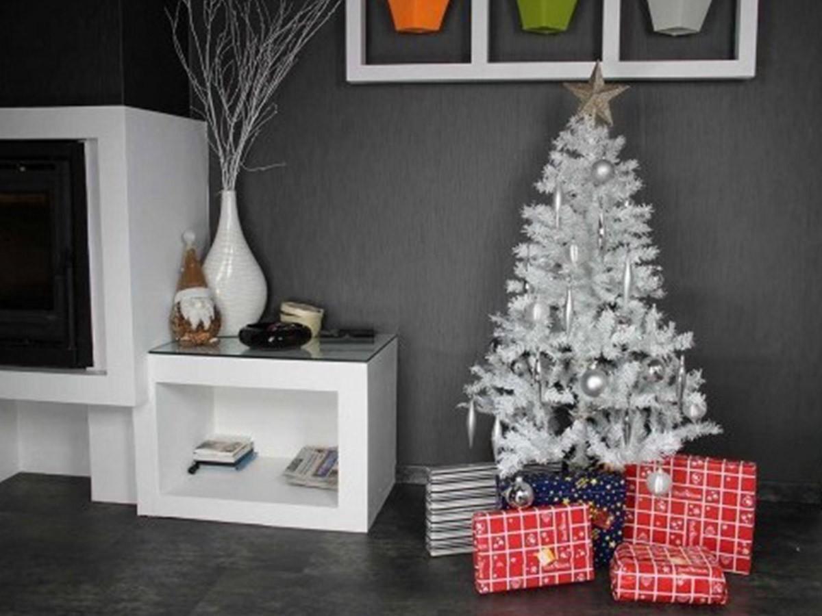 Sapin de Noel artificiel de Luxe Blanc 210 cm
