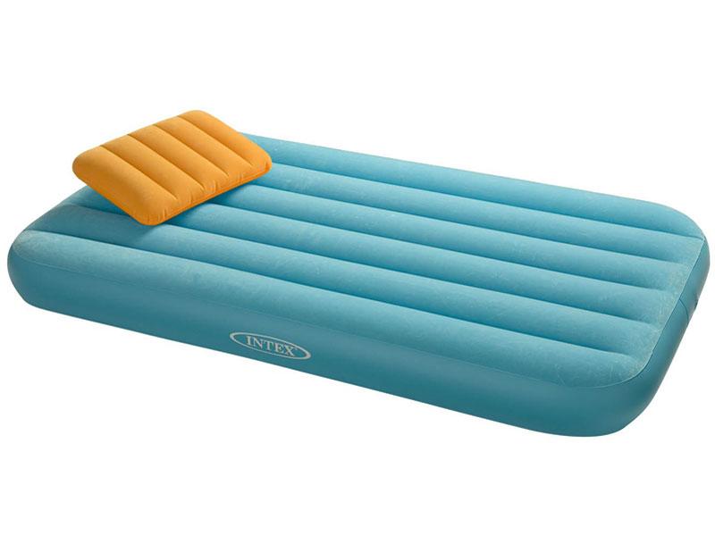 Matelas Gonflable enfant 1 place bleu + oreiller