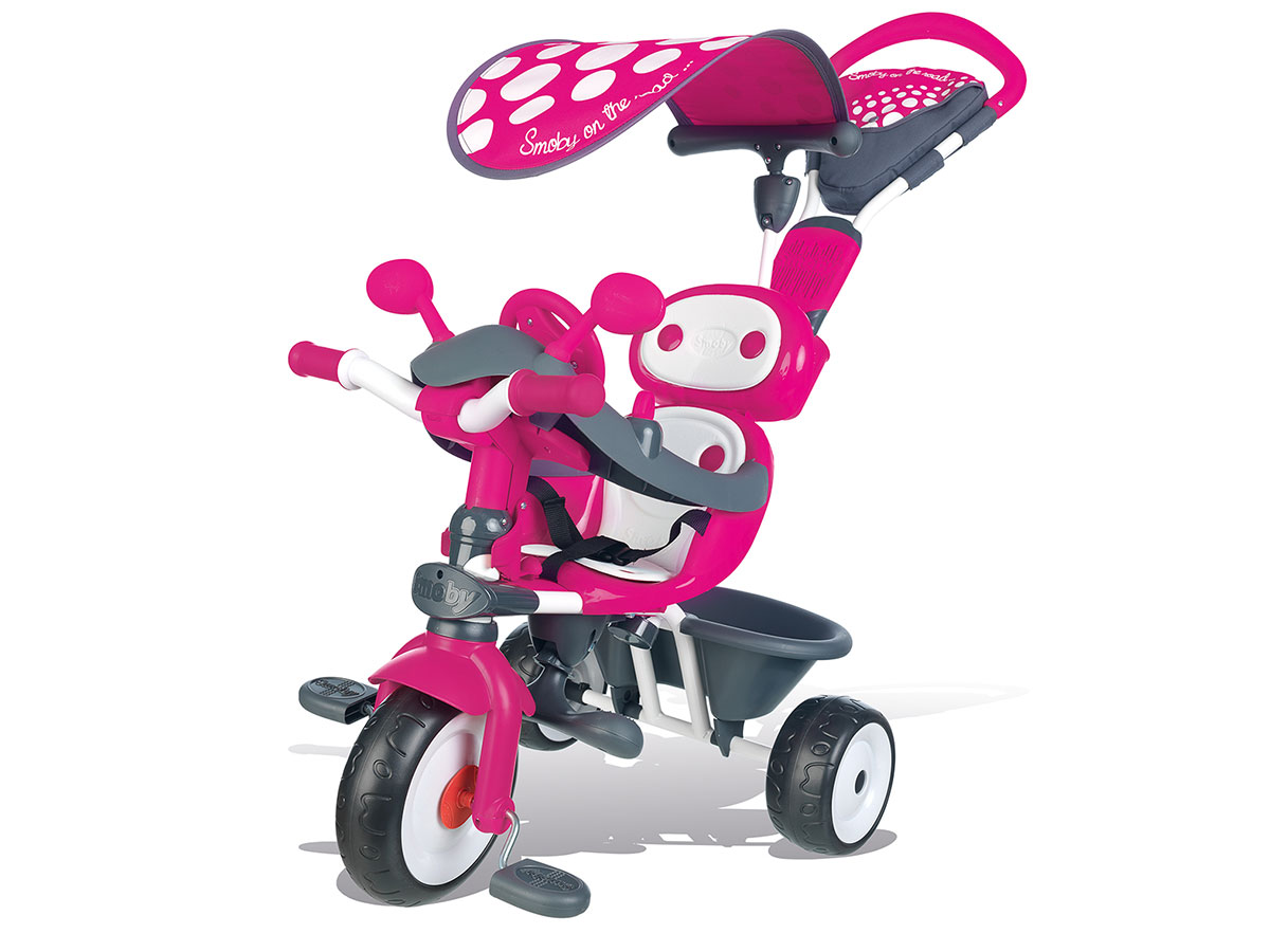 Tricycle enfant Baby Driver Confort Rose + Ombrelle Smoby
