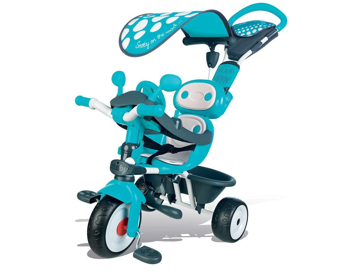 Tricycle enfant Baby Driver Confort Bleu + Ombrelle Smoby