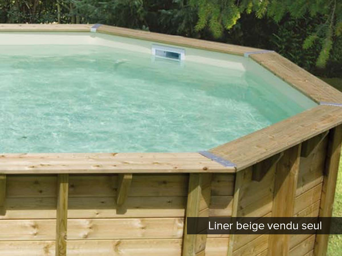 Liner seul pour piscine bois Azura 5,05 x 3,50 x 1,26 m Beige. .