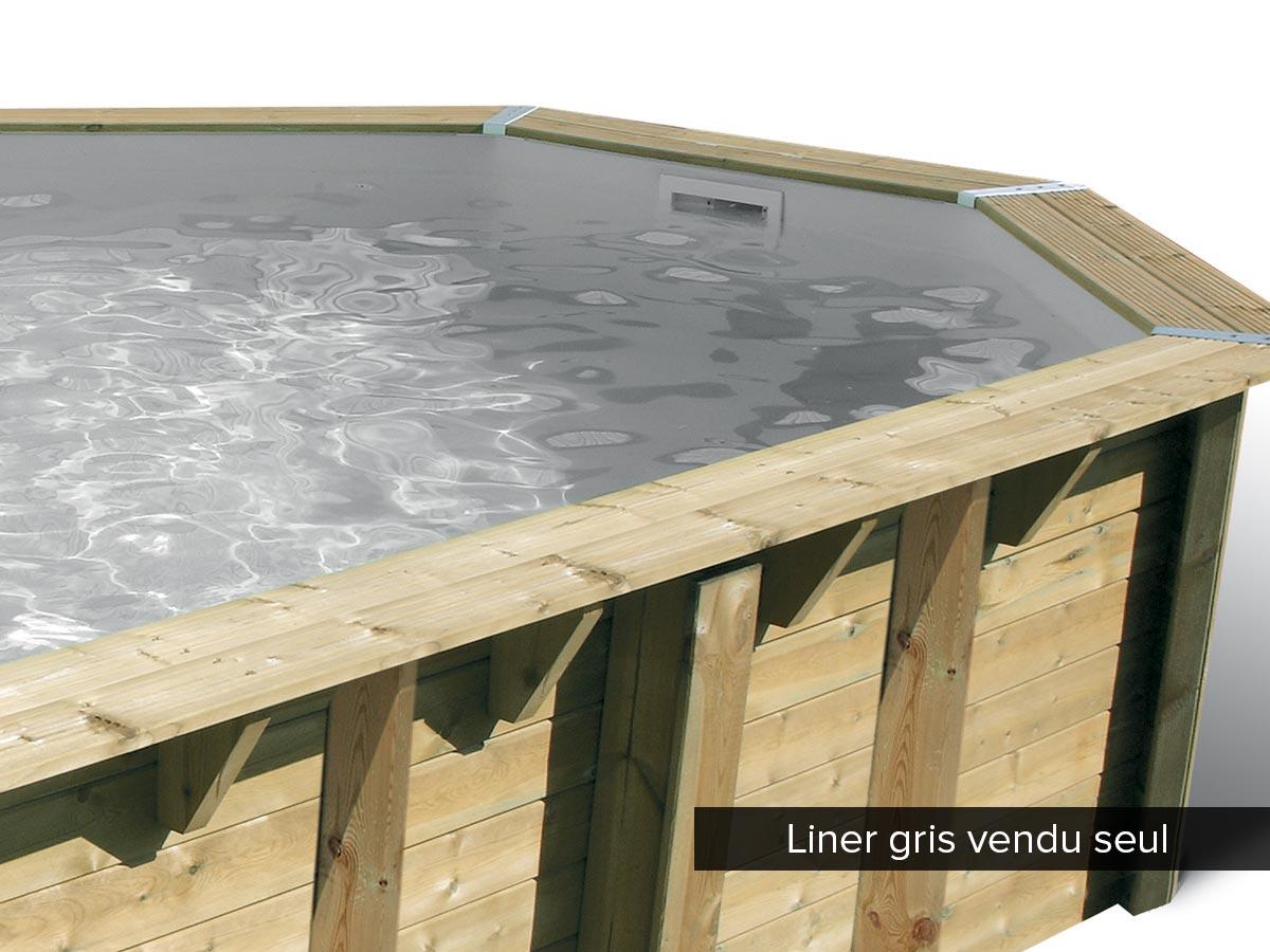Liner seul pour piscine bois Océa 6,10 x 4,00 x 1,30 m Gris