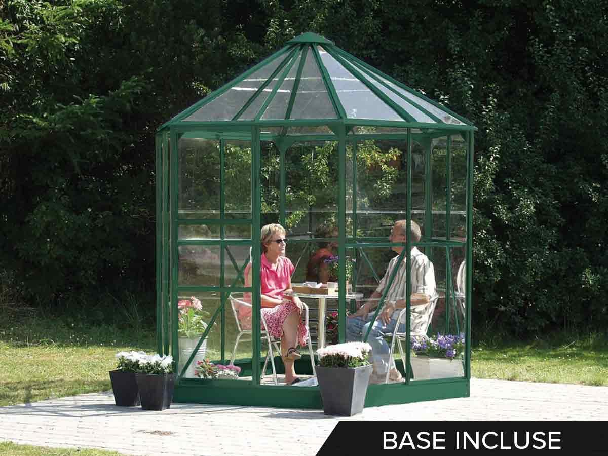 Jardin D'hiver en verre hera 4,50 m² + base - vert