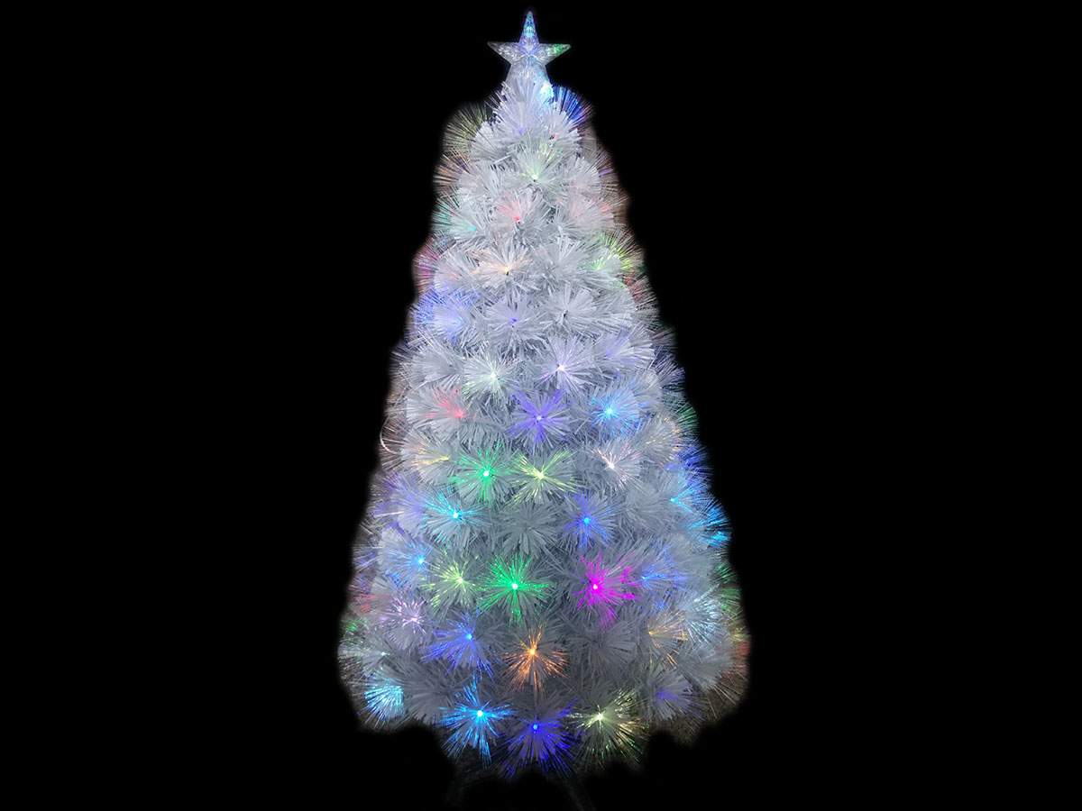 Sapin de Noel artificiel Fibre Optique Blanc 150 cm
