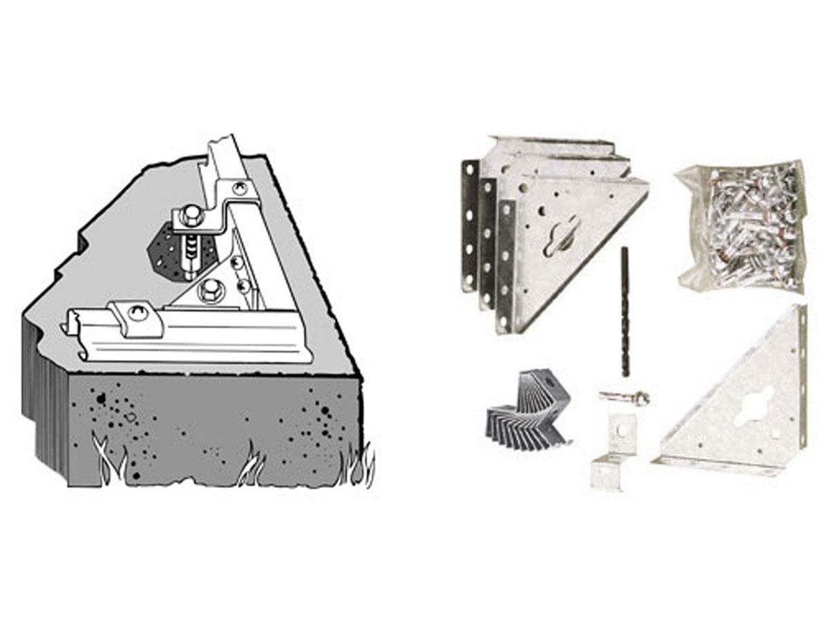Kit d'ancrage sol béton pour abri métallique