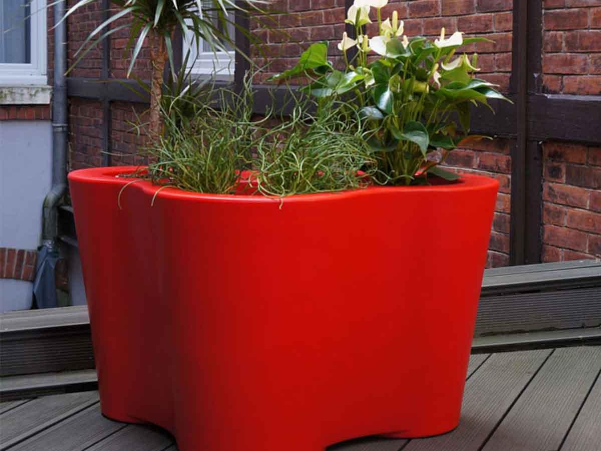 Jardinière Avec 3 emplacements - rouge