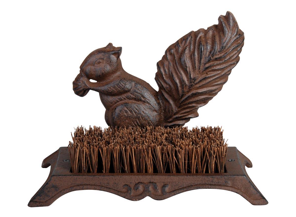 Brosse pieds décoration écureuil fonte