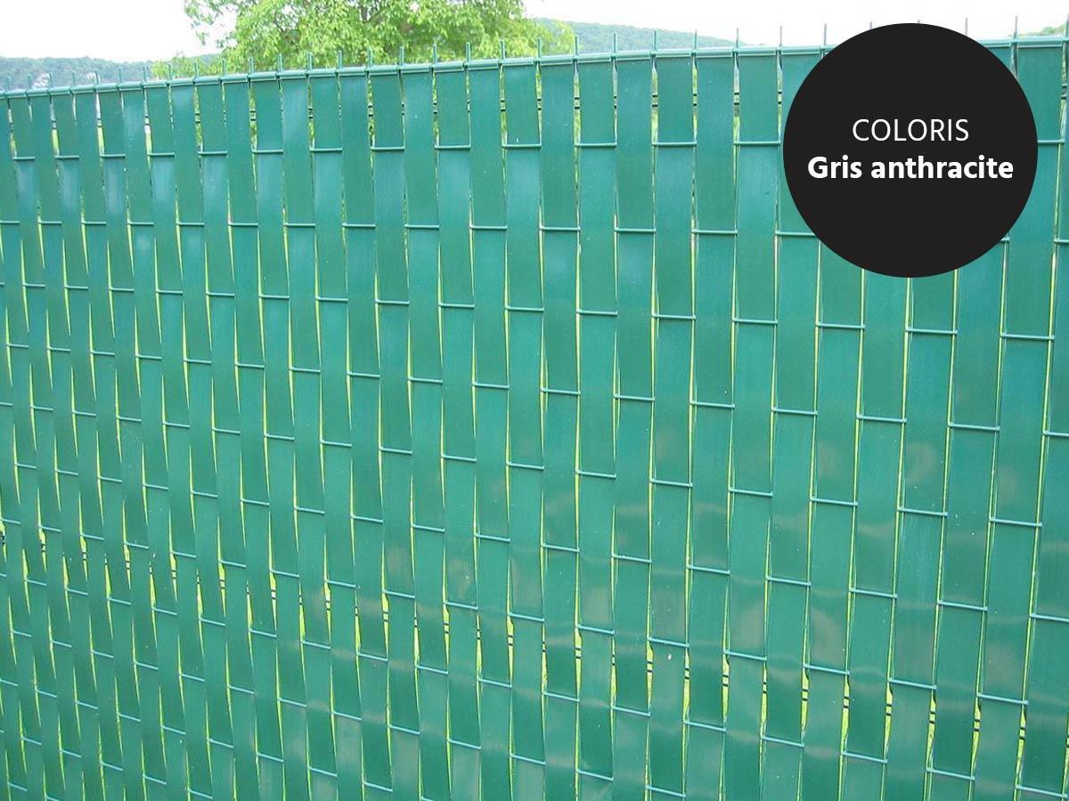 Lanière PVC pour palissade largeur 43 mm x 60 m+100 clips- Gris