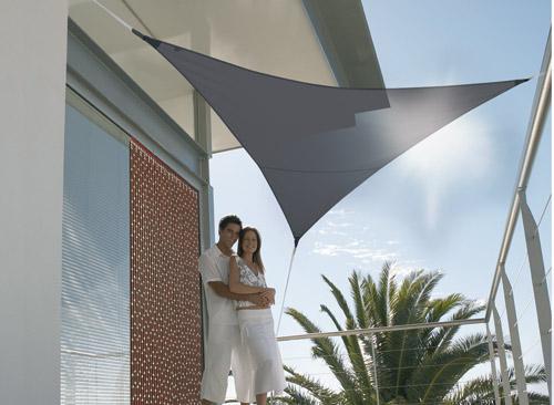 Voile d'ombrage triangulaire 5 x 5 x 5 m - Ardoise