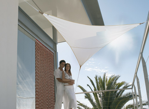 Voile d'ombrage triangulaire 5 x 5 x 5 m - Blanc