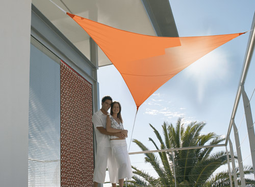 Voile d'ombrage triangulaire 5 x 5 x 5 m - Terracotta