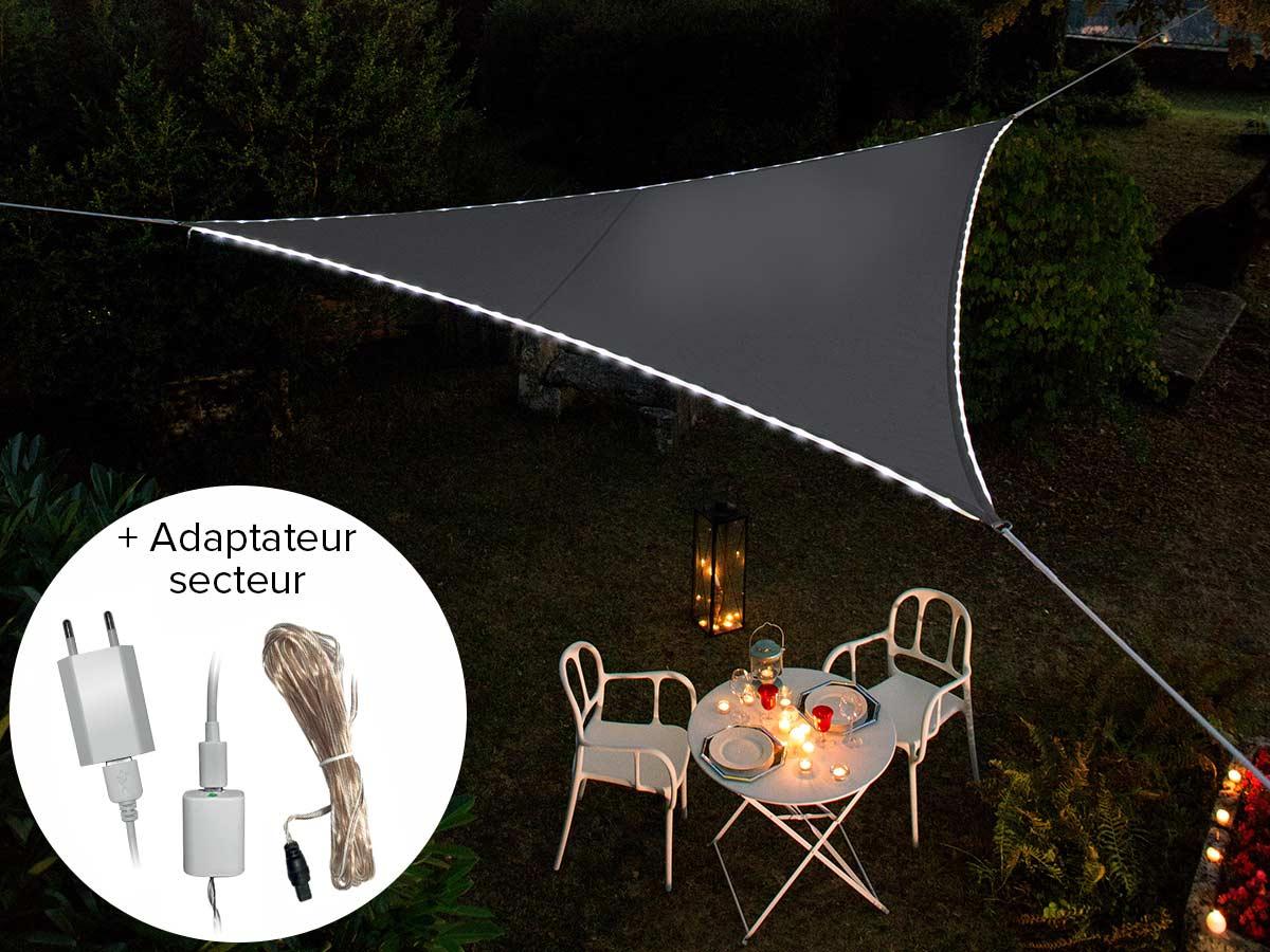 Voile d'ombrage triangulaire Leds solaires Ardoise + Adaptateur
