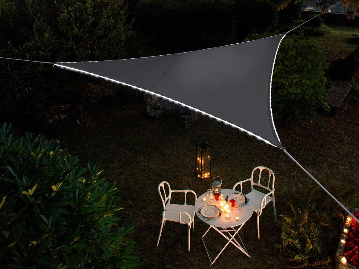 Voile d'ombrage triangulaire Leds solaires 3,6 x 3,6 x 3,6 m Ardoise