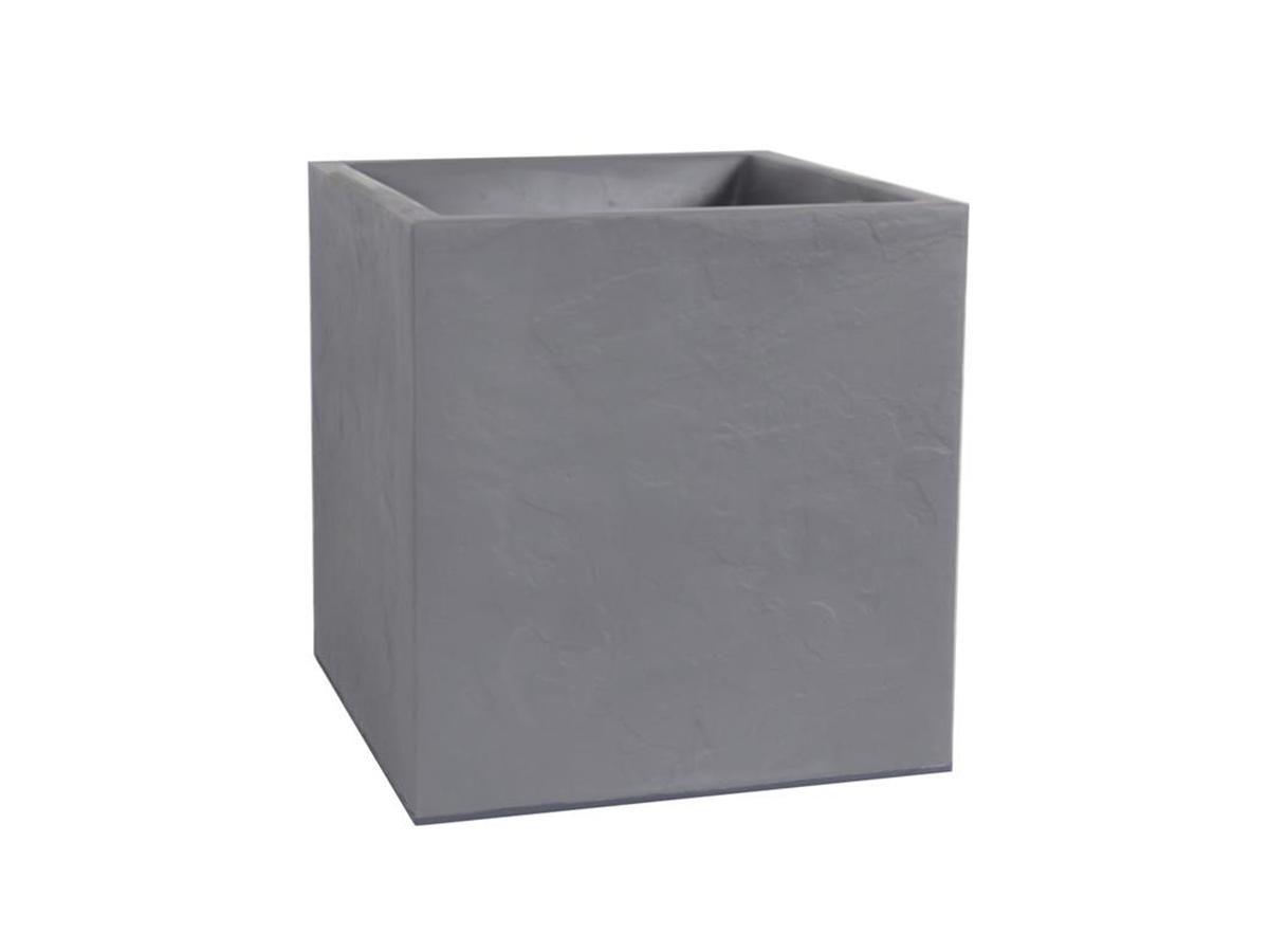 Jardinière carrée Volcania effet pierre 39,5 x 39,5 x 43,5 cm - 31 L - Gris galet