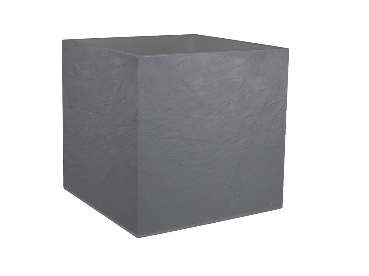 Jardinière carrée Volcania effet pierre 49,5 x 49,5 x 49,5 cm - 57 L - Gris galet