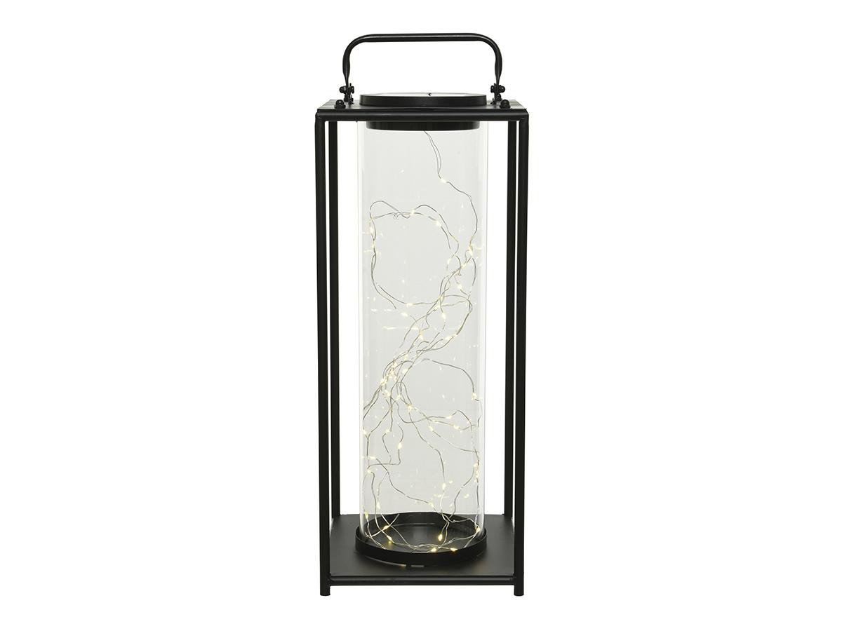 Lanterne solaire lumineuse en métal 15 x 15 x 42 cm - Jardideco
