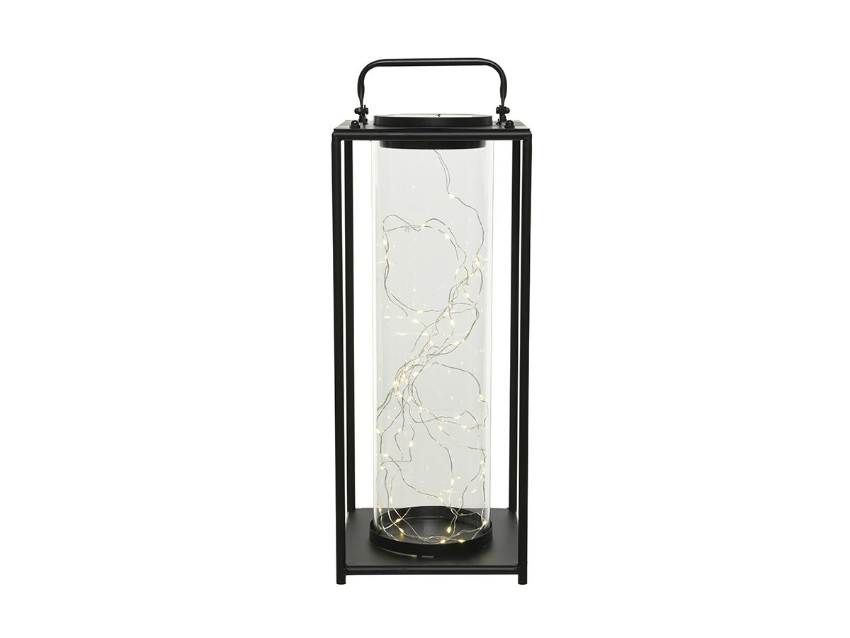 Lanterne solaire lumineuse en métal 20 x 20 x 49 cm - Jardideco