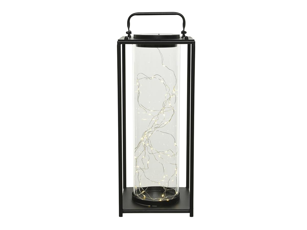 Lanterne solaire lumineuse en métal 20 x 20 x 79 cm - Jardideco