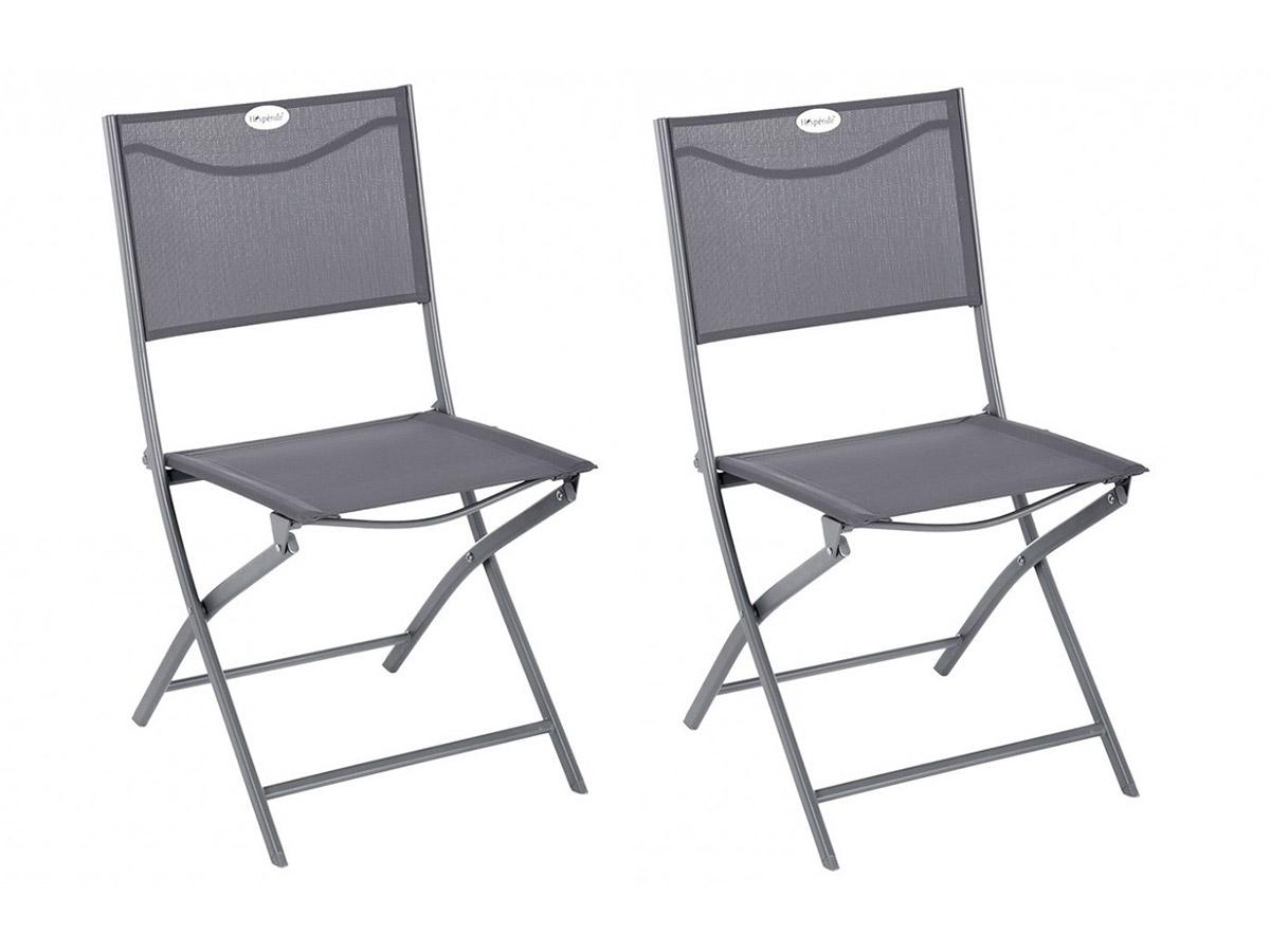 Lot de 2 Chaises de jardin pliante métal Modula Ardoise / Quartz - Hesperide