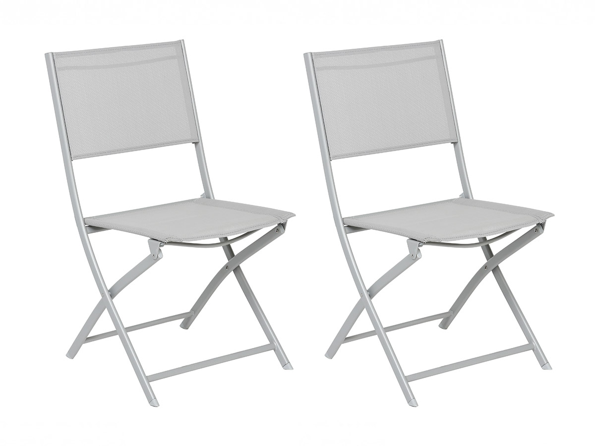 Lot de 2 Chaises de jardin pliante métal Modula Gris / Gris mat - Hesperide