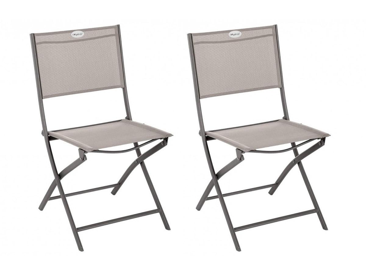 Lot de 2 Chaises de jardin pliante métal Modula Noisette / Tonka - Hesperide